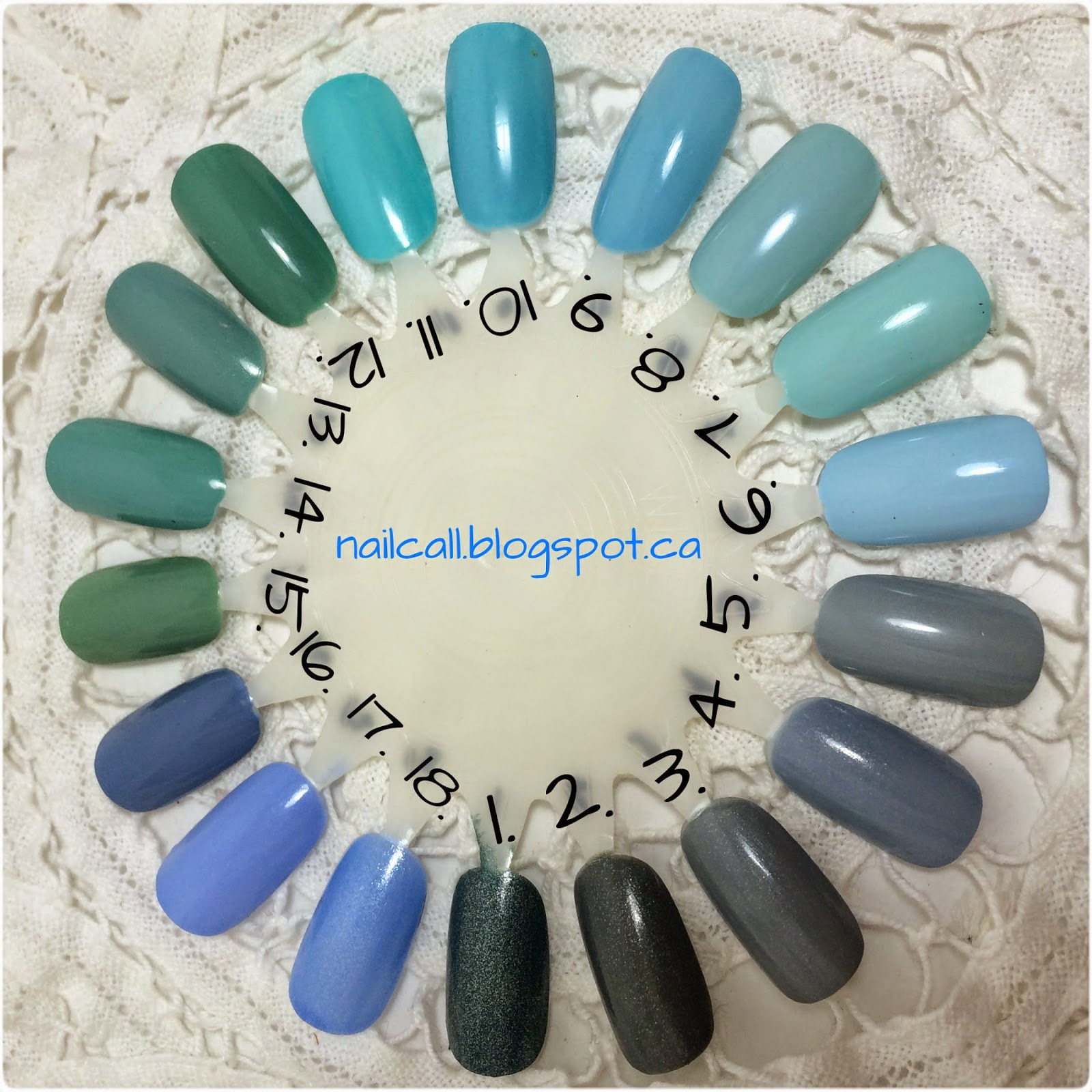Blue nail polish swatched on a nail wheel