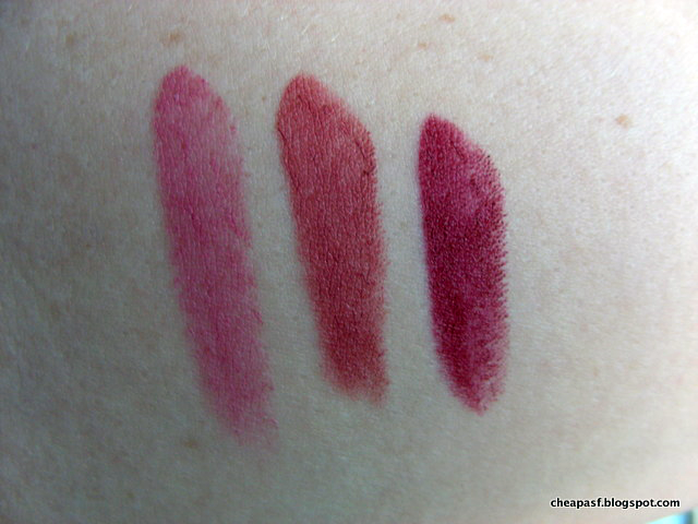 Swatches of Maybelline Color Sensational Creamy Mattes in Lust for Blush, Touch of Spice, and Divine Wine