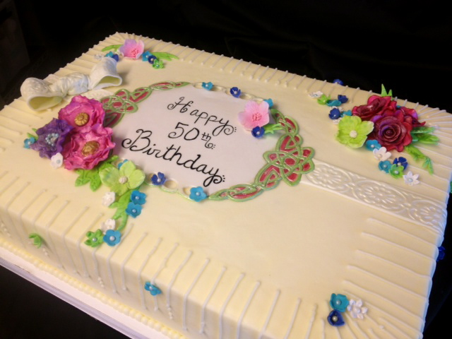 Elegant Flower Sheet Cake Happy Birthday Dena
