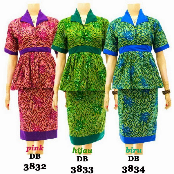 DB3832-3834 Model Baju Dress Batik Modern Terbaru 2014
