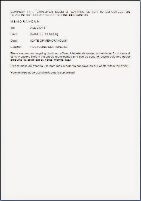 memorandum to staff sample