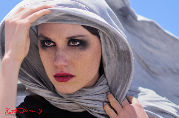 louise Maniscalco, high fashion shoot, headshot, eyes and shawl.
