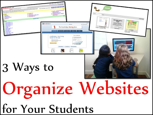 Three ways to organize websites for your computer center or technology class - ideas from Raki's Rad Resources.