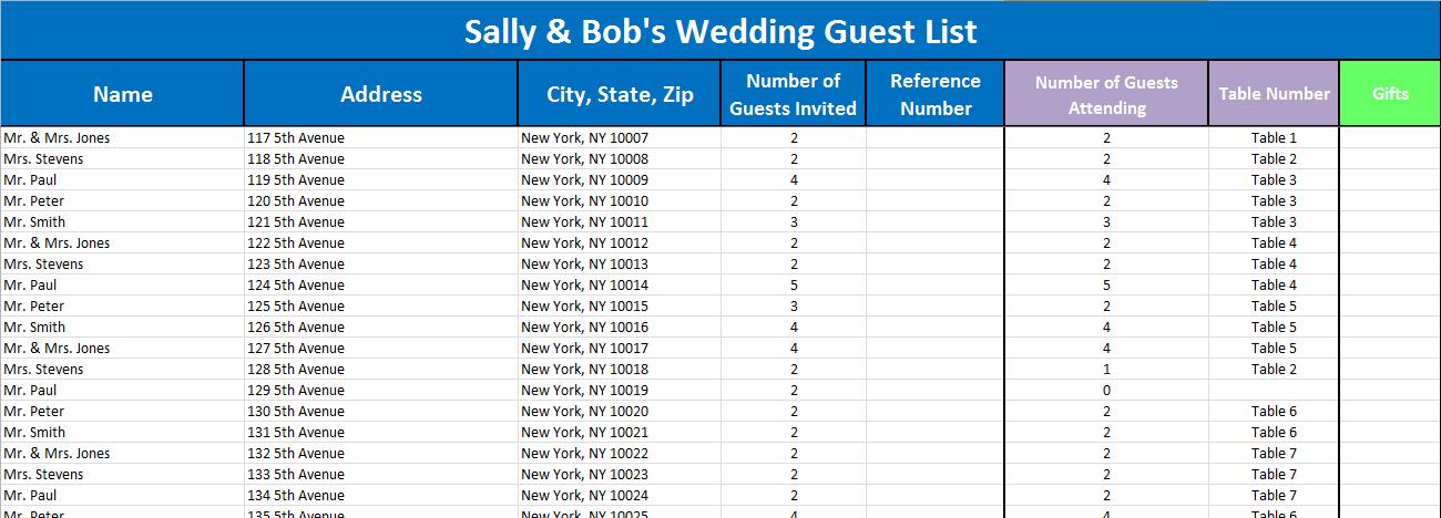 wedding guest list tracker