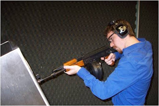 Testing an AK-47 rifle.