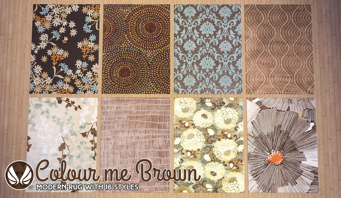 simsational designs colour me brown modern rugs