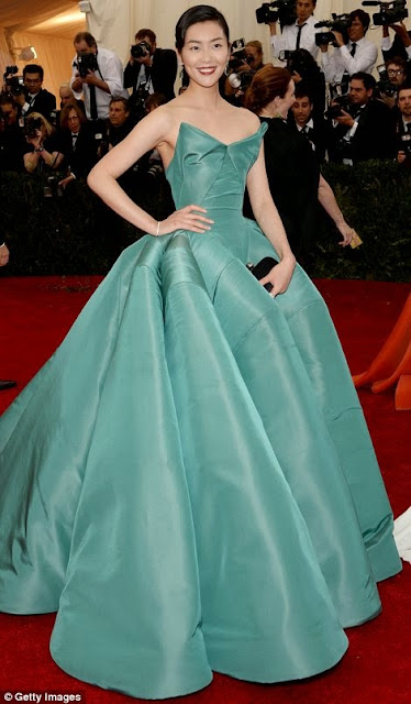 Liu Wen wore Zac Posen at the Met Gala 14.