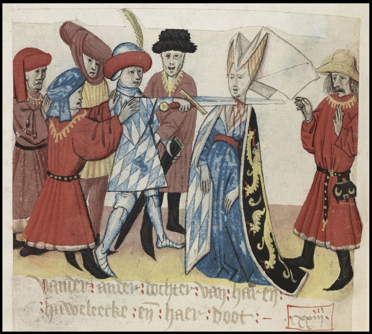 brabant chronicle illustration of duchess being beheaded in 14th century