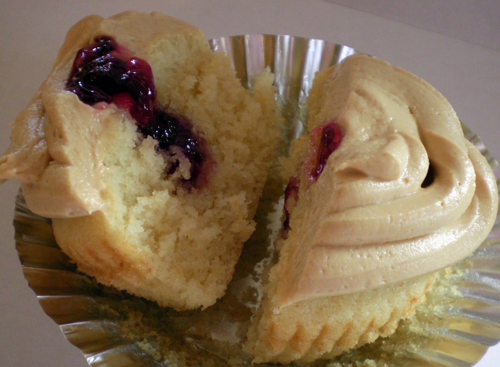 with peanut butter frosting and put a little bit of jelly on top they ...