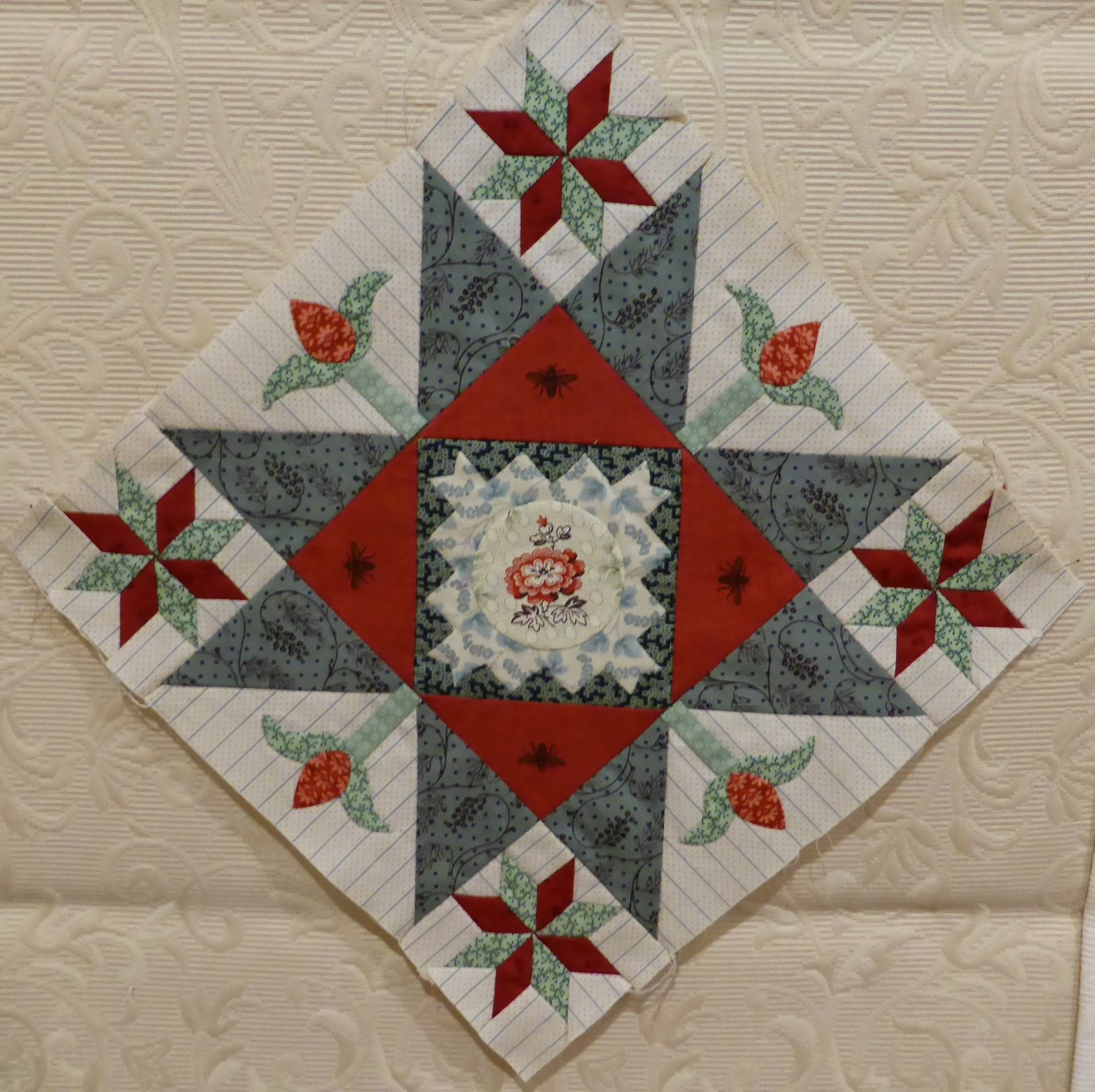 Antique Wedding Sampler (re-visited) quilt Di Ford Block #21