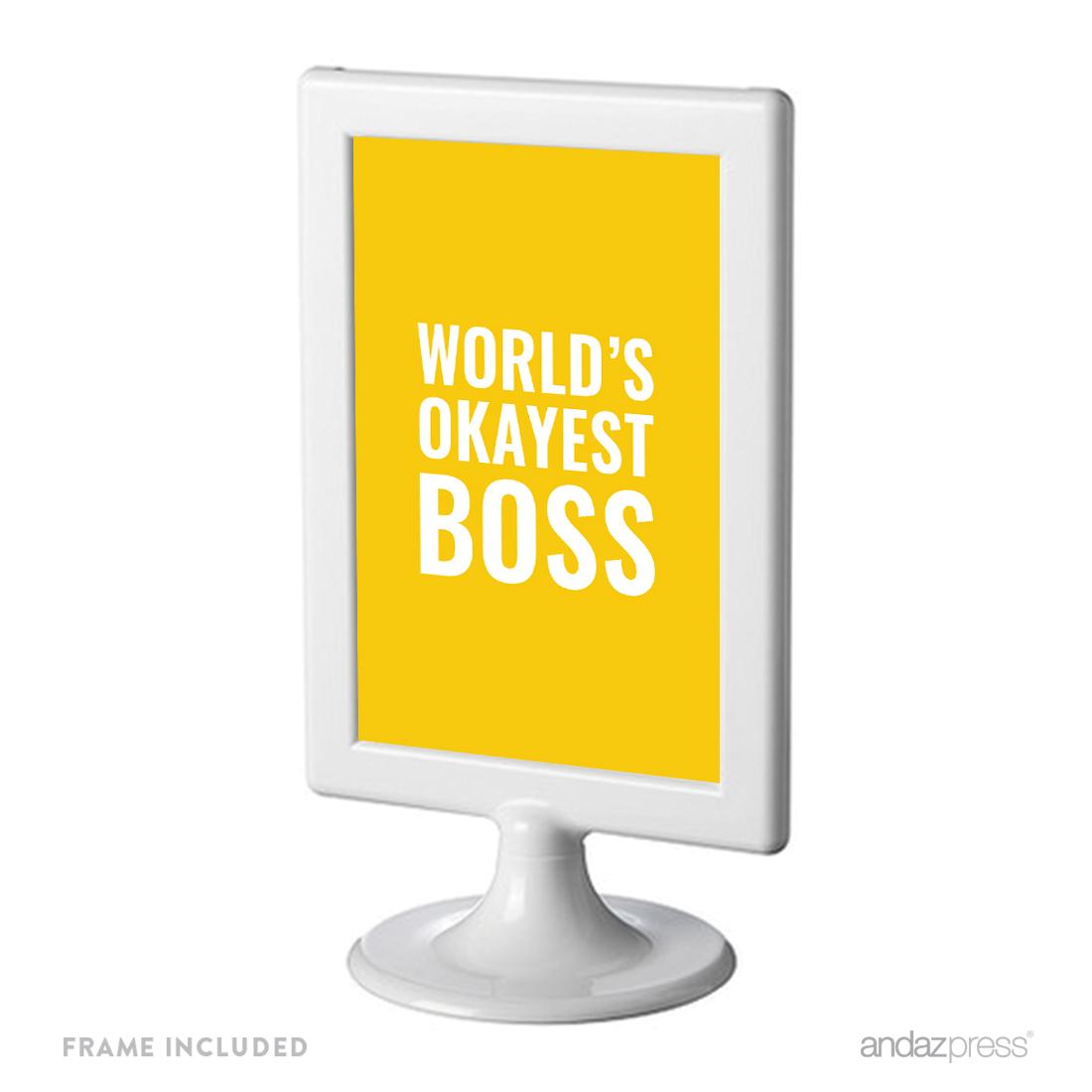 Andaz Press Office Framed Desk Art, World\'s Best Boss, 4x6-inch ...