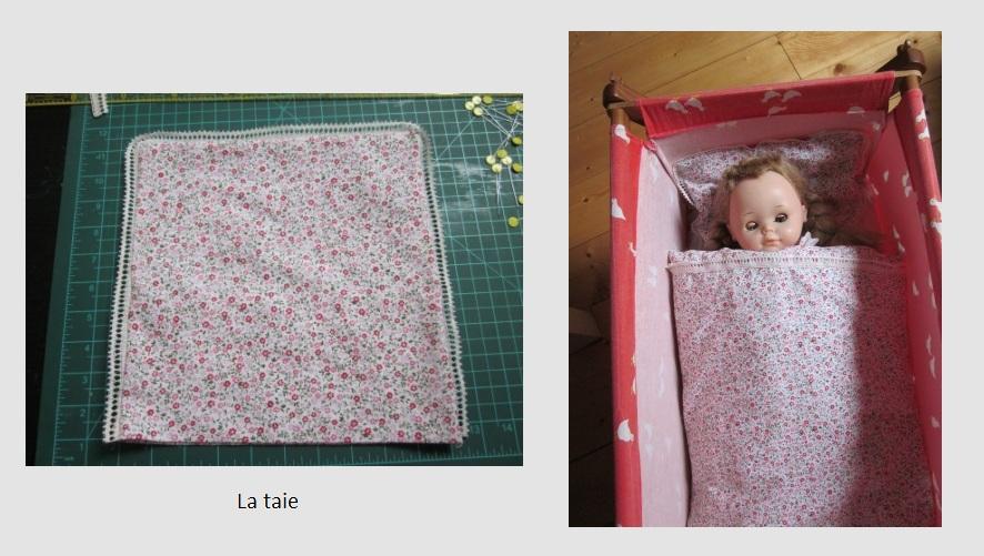 la petite maison de sylvie parure de lit de poup e. Black Bedroom Furniture Sets. Home Design Ideas