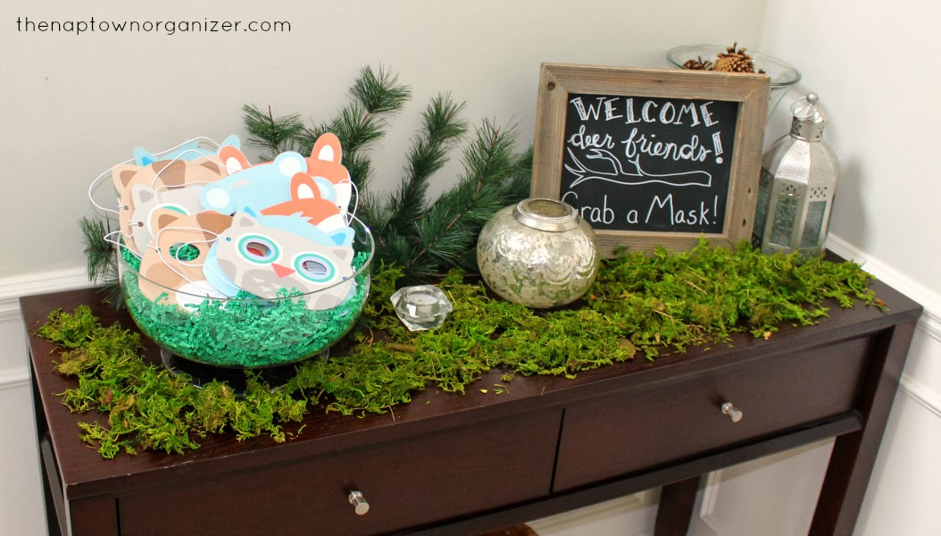 woodland birthday party diy animal masks (owl, raccoon, bear, fox, etc.) and chalkboard picture frame sign