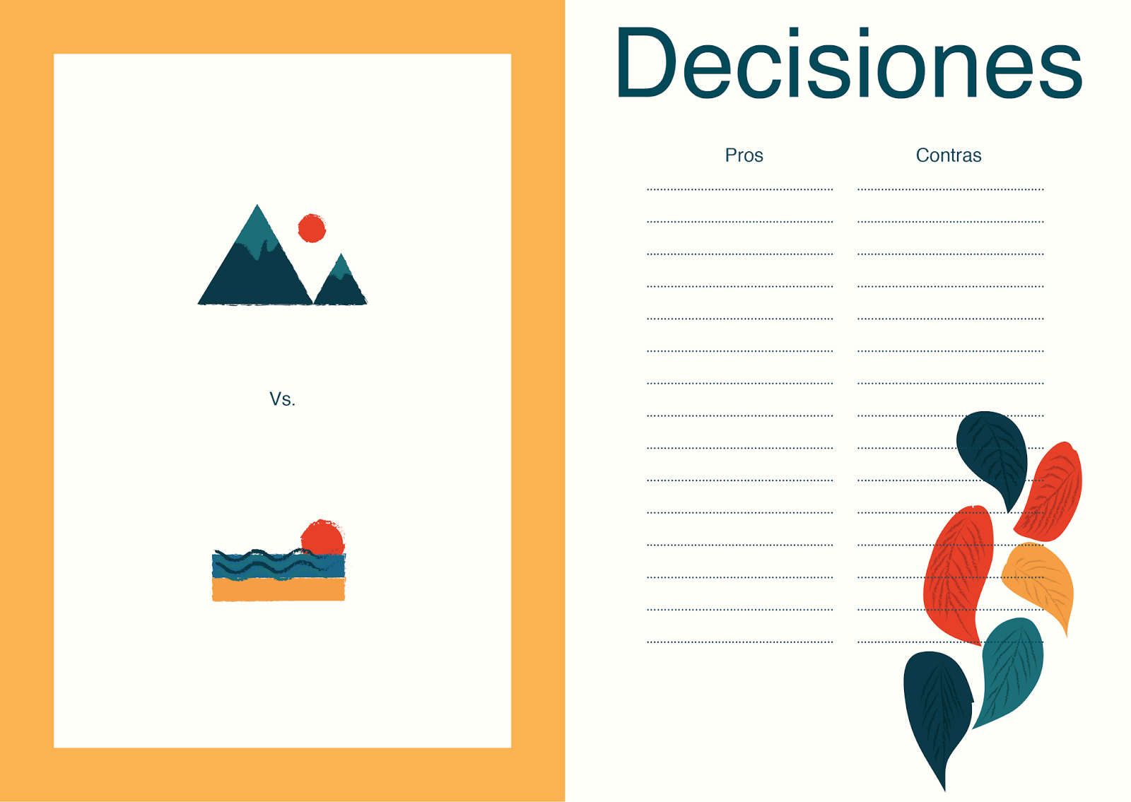 Imprimible para tomar decisiones