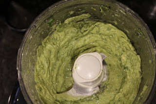 pureed avocado sauce in food processor