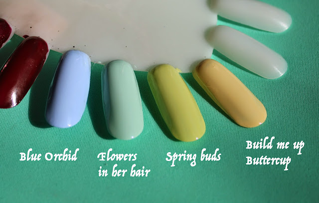свотчи лаков для ногтей Deborah Lippmann Build me up Buttercup, Flowers in her hair, Spring buds, Blue Orchid