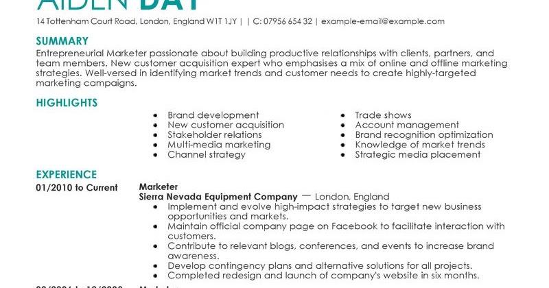 Example of marketing resume