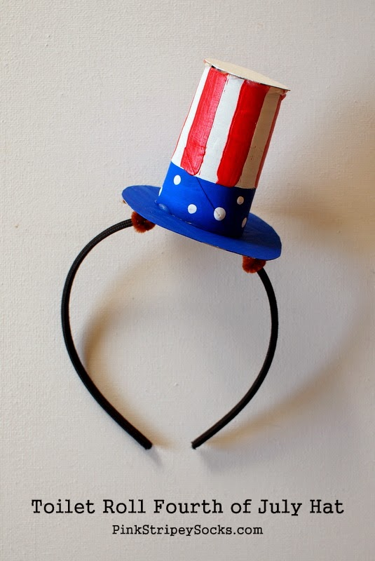 DIY cardboard toilet roll Fourth of July Hat