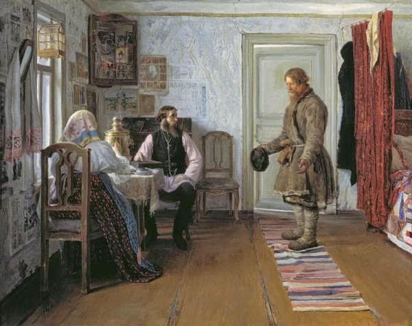 Иван Богданов за расчетом, красный угол, изба