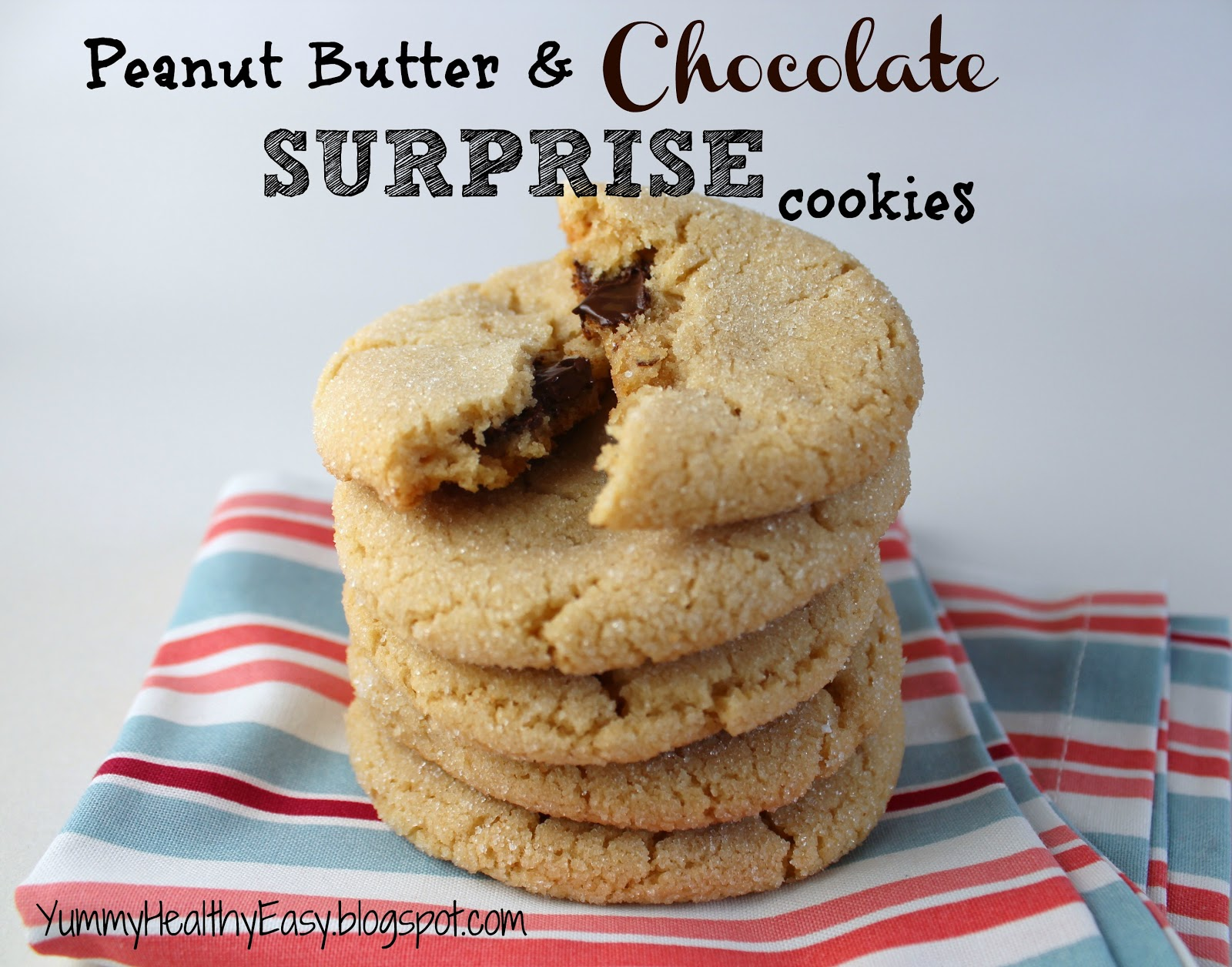 Chewy Peanut Butter & Chocolate Surprise Cookies