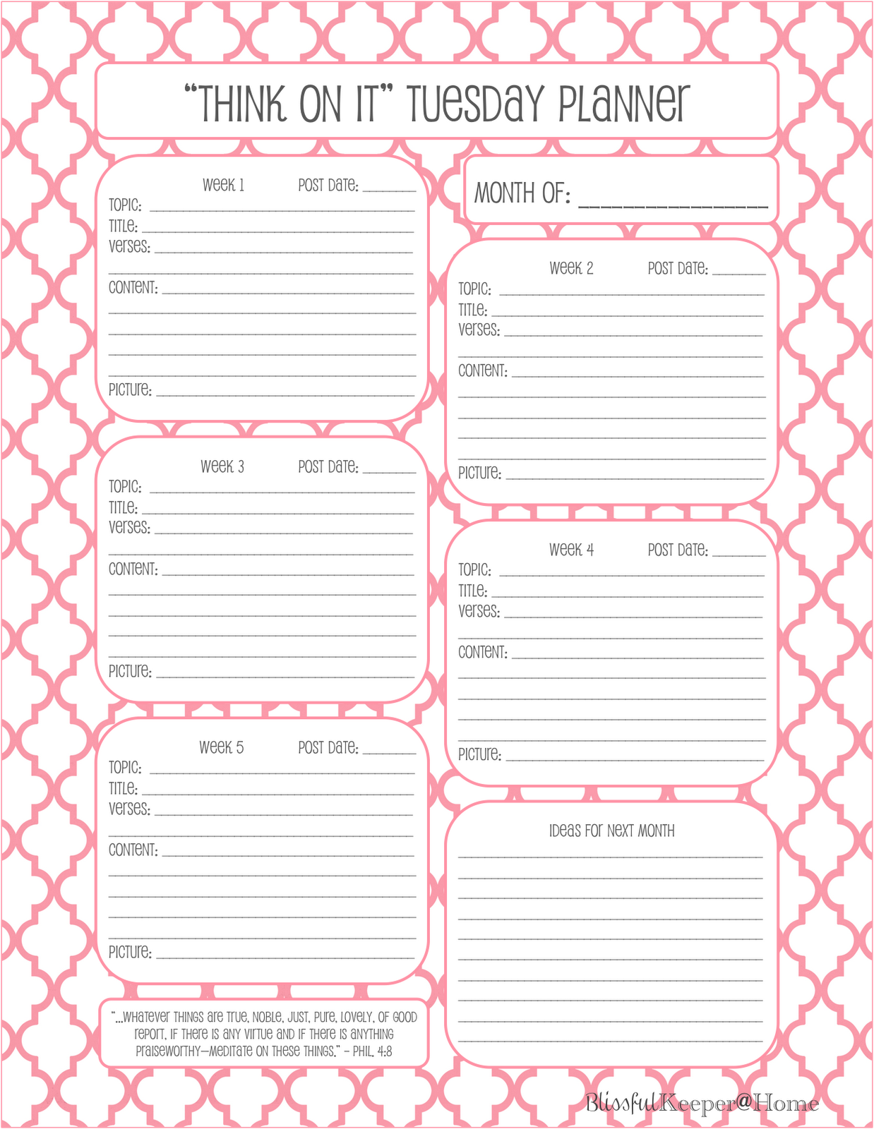 Blissful Keeper at Home: My Blog Planning Sheets