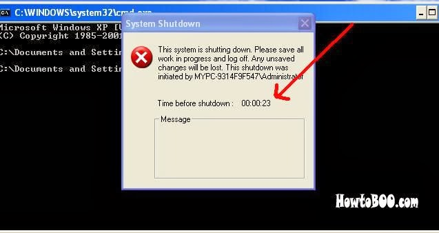 how to shutdown windows xp machine in command prompt