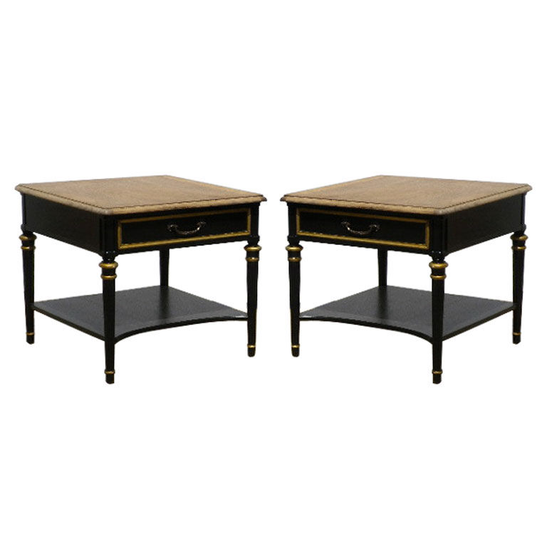 PAIR BLACK AND GILT SIDE TABLES 3200.00