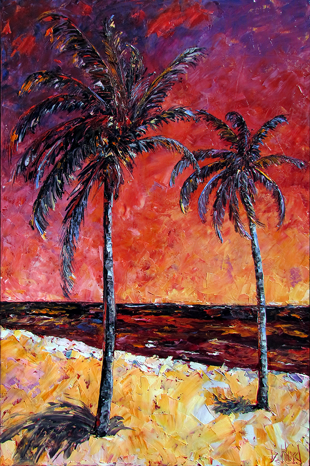 Debra hurd original paintings and jazz art palm trees art for Palm tree painting