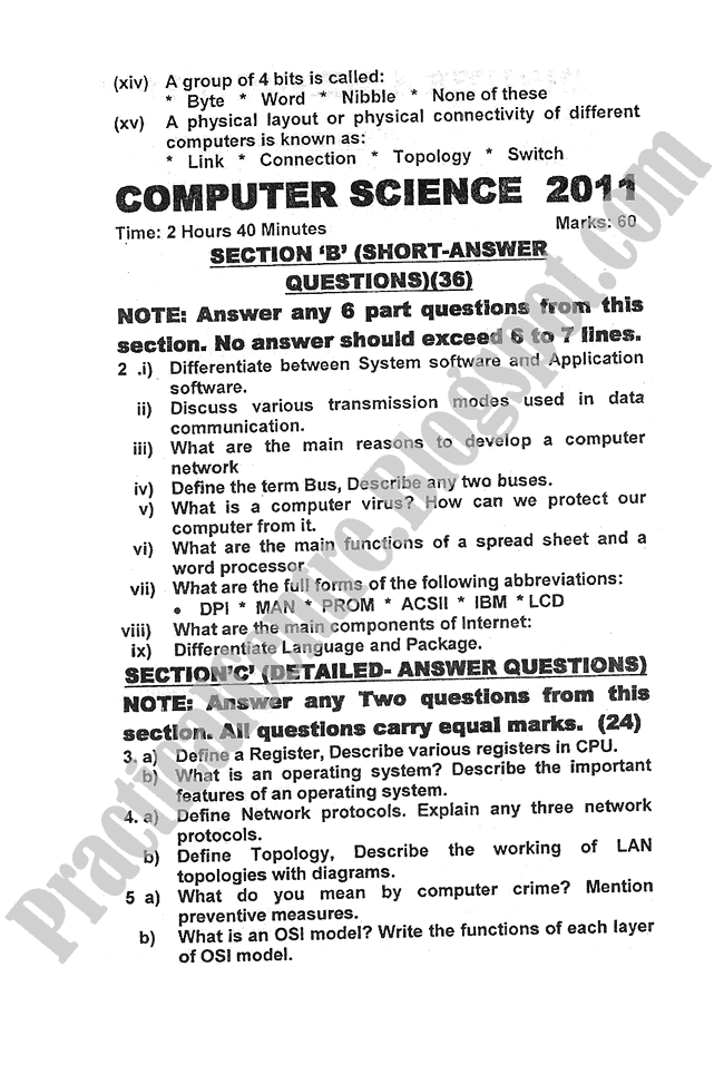 Computer-science-2011-five-year-paper-class-XI