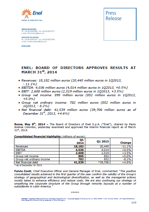 Enel, Q1, 2014,front page