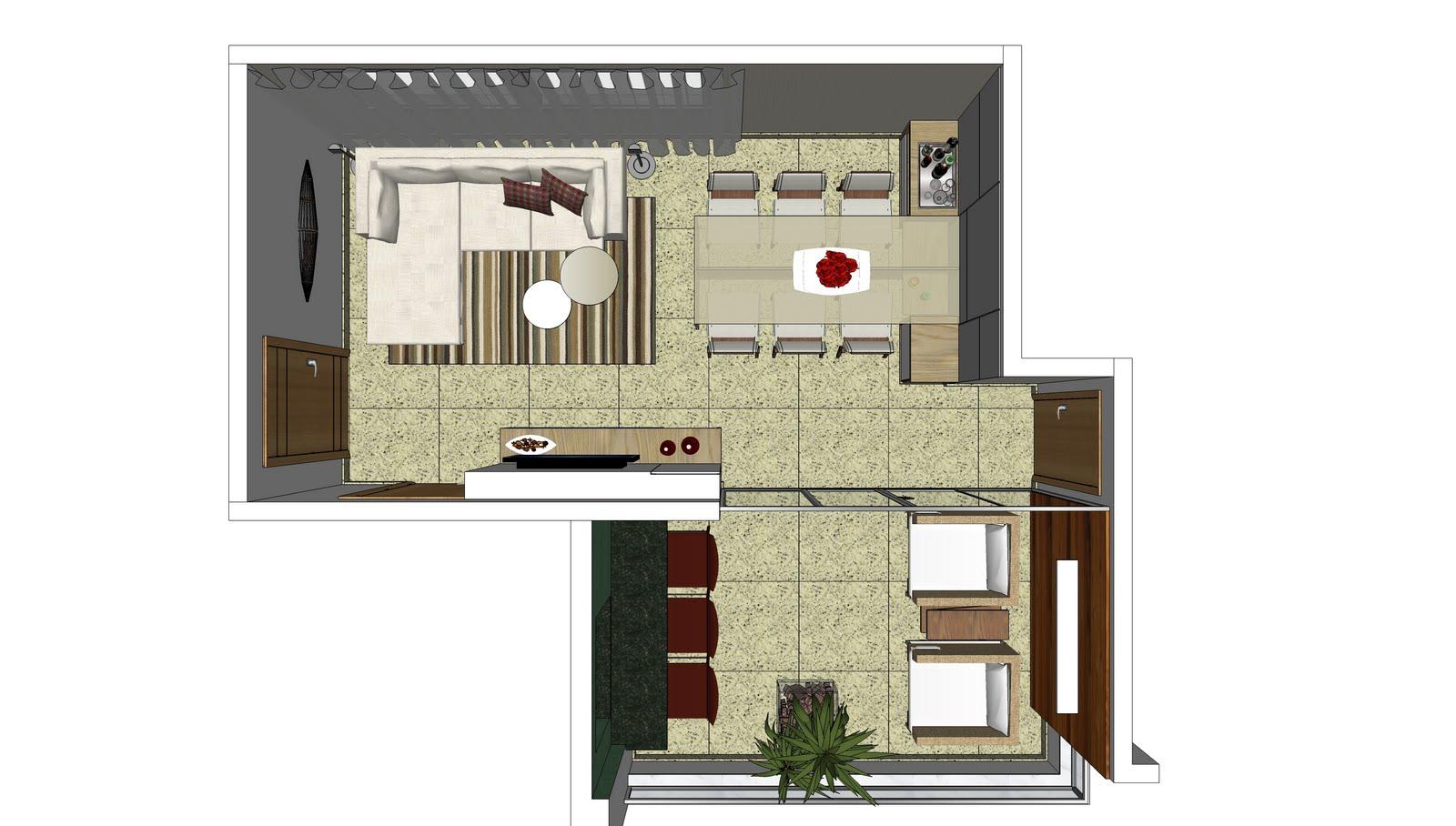 Paula caldeira projeto apartamento bairro gutierrez 2 for Sala de estar vista desde arriba