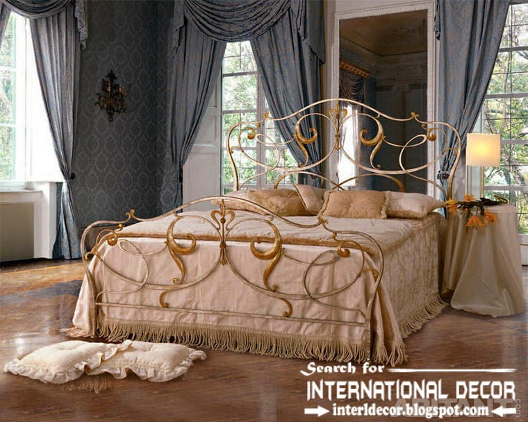 classic Italian wrought iron beds and headboards 2015, golden wrought iron bed