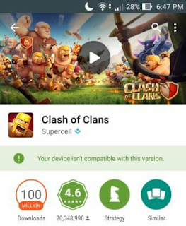 Solusi Cara Mengatasi Error Devices Not Compatible Clash of Clans