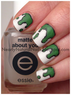 Bartholomew and the Oobleck by Dr. Suess, nail art, 31 Day Nail Challenge - Day 24: Inspired by a book, green and black paint spill nails, essie matte about you, matte finish