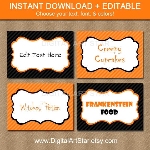 Editable Printable Halloween Candy Buffet Labels
