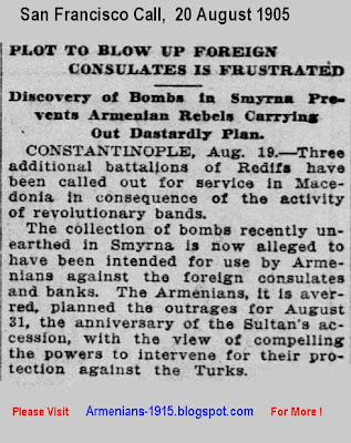 Plot To Blow Up Foreign Consulates By Armenian Rebels' Dastardly Plan -San Francisco Call -20 Aug 1905