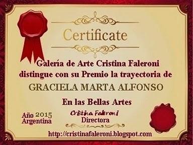 ¡¡Muchas gracias Cristina Faleroni por la distinción otorgada!!