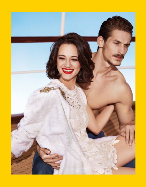 Jarrod Scott and Asia Argento for Ermanno Scervino SS14