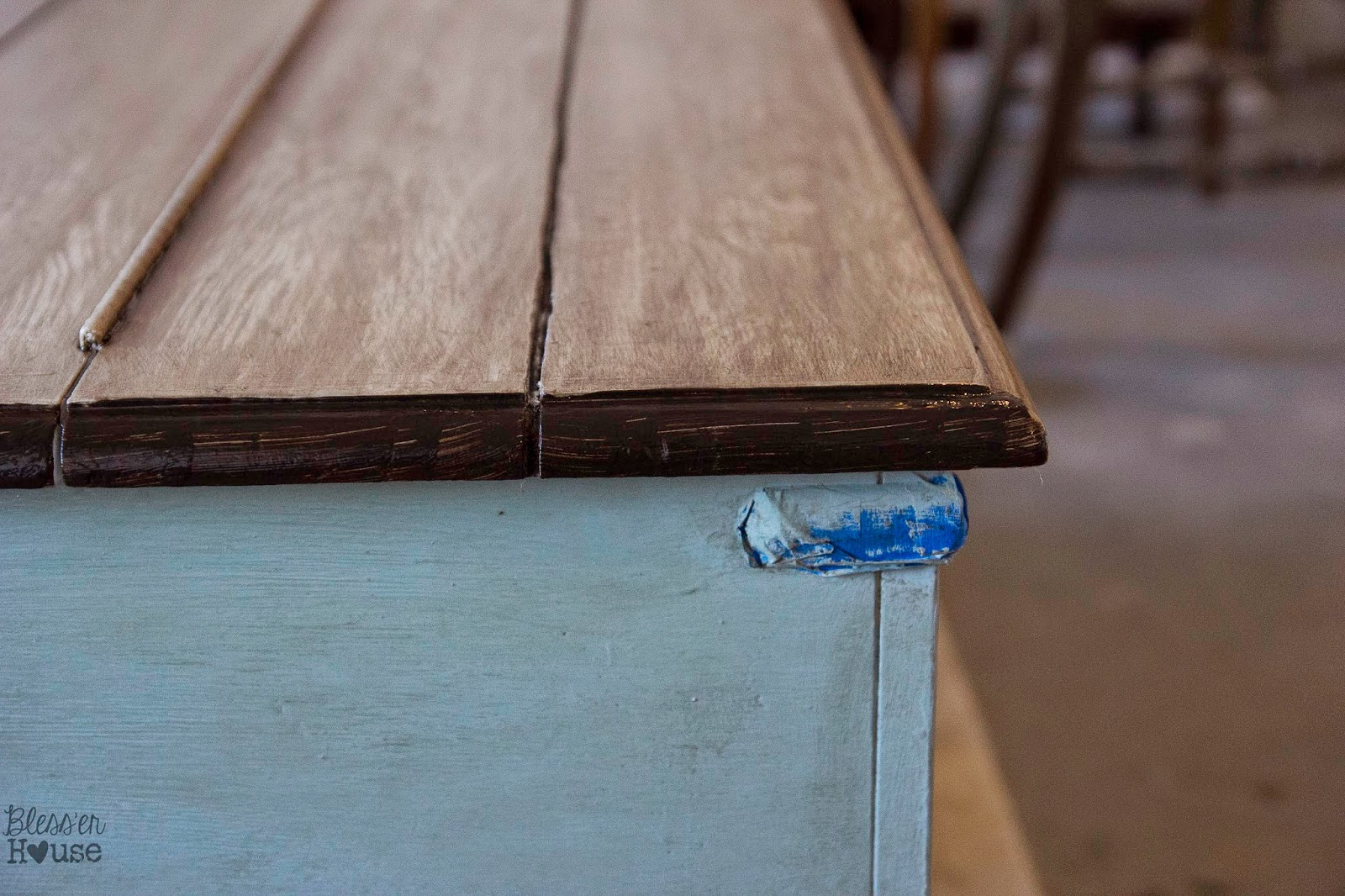 faux reclaimed wood table top how to bless 39 er house. Black Bedroom Furniture Sets. Home Design Ideas