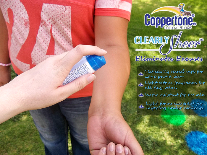 Coppertone Clearly Sheer for Sunny Days has a light citrus fragrance and is safe for acne prone skin.