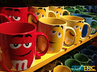Souvenir coffee mugs from the M&M's Factory in Las Vegas, Nevada