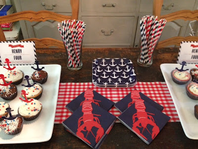 red, white, and blue nautical birthday party