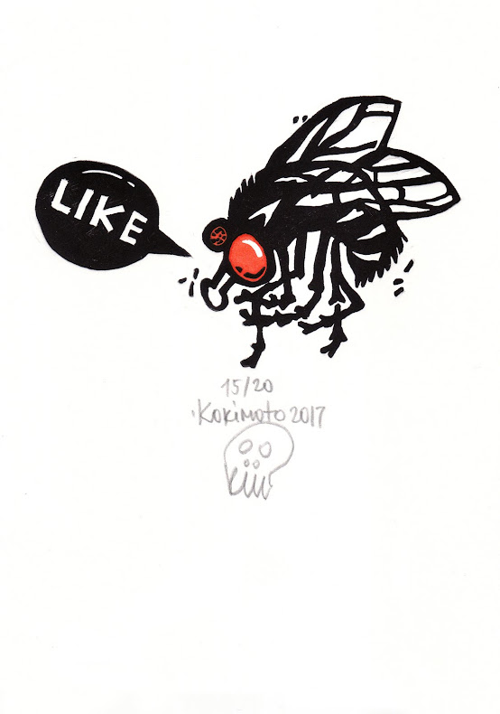 Like a fly. 2017. Linocut, 285 gsm Fabriano paper. Edition of 20, 25x18 cm