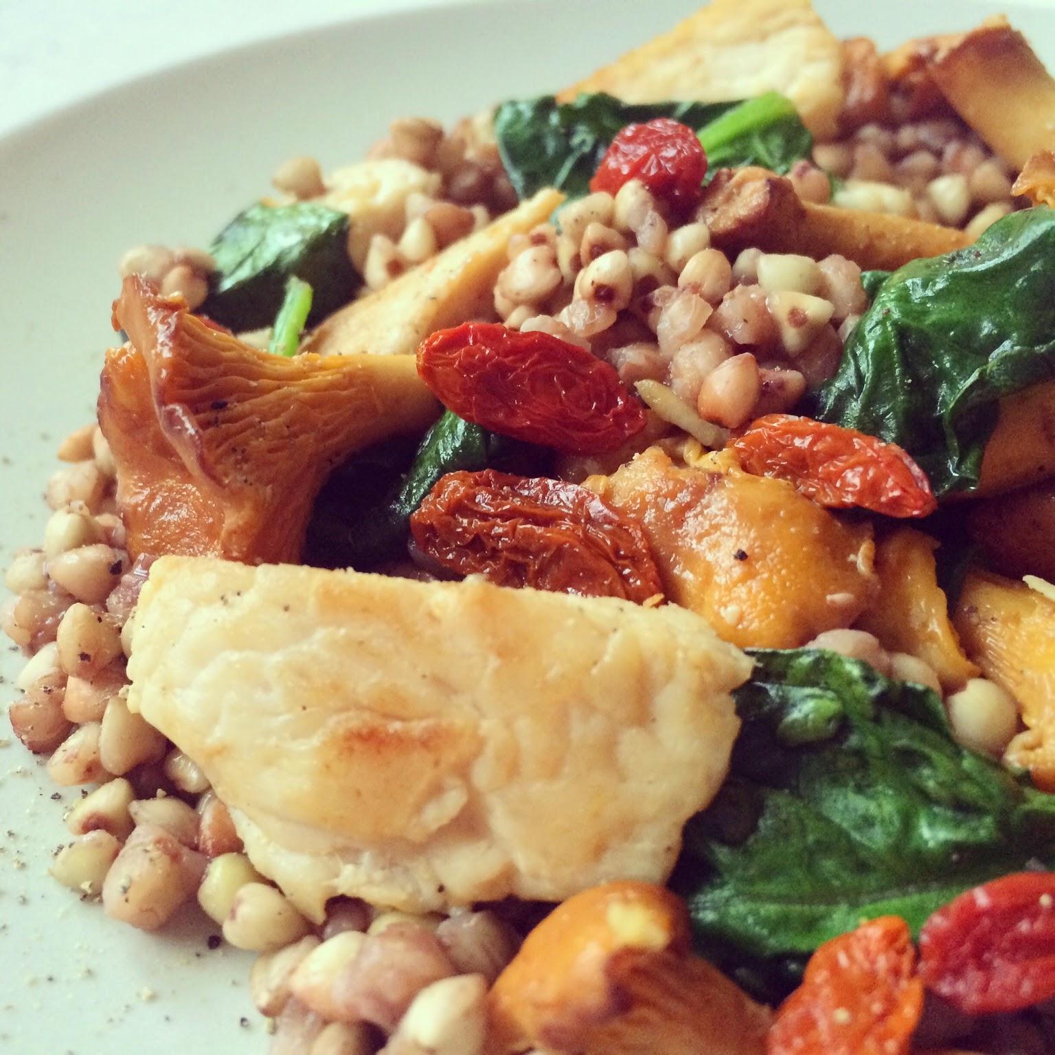 sarrasin poulet champignons épinards goji