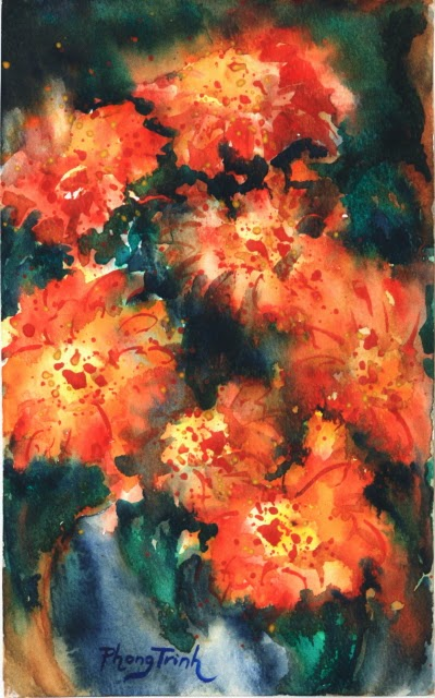 Sensation Fine Art Watercolor painting on Paper Zinnia Sonata series, Four of Eight