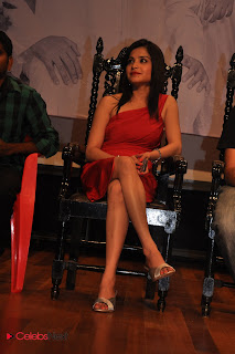 Harsha Khandeparkar Picture Gallery in Red One Shoulder Short Dress at Movie Press Meet 0023