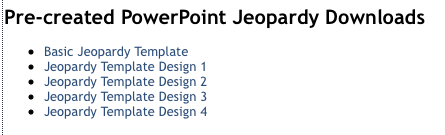 making a jeopardy game using powerpoint! - the primary punchbowl, Powerpoint templates
