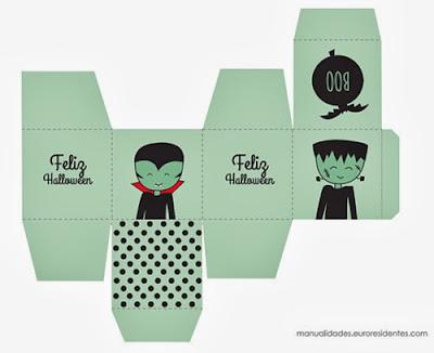 Caja chuches halloween con dibujo frankestein y vampiro