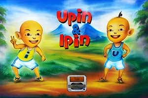 Upin and Ipin on a bus