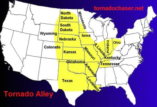 Regiones de mayor actividad de los tornados
